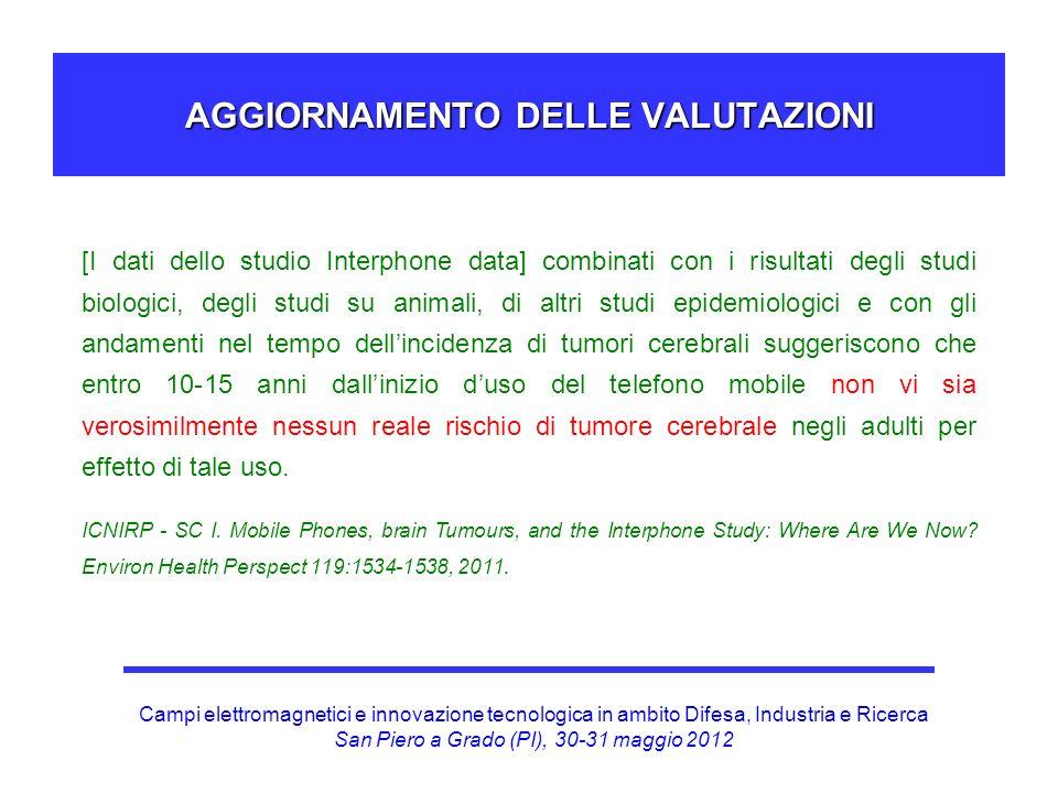 Campi elettromagnetici e innovazione tecnologica in ambito Difesa, Industria e Ricerca San Piero a Grado (PI), 30-31 maggio 2012 AGGIORNAMENTO DELLE V