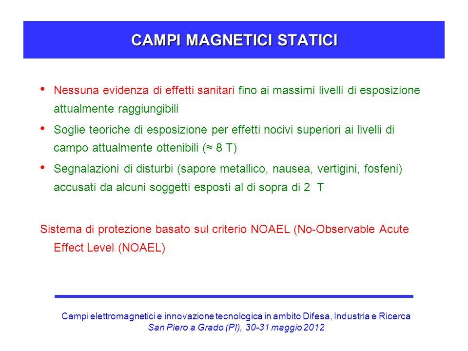 Campi elettromagnetici e innovazione tecnologica in ambito Difesa, Industria e Ricerca San Piero a Grado (PI), 30-31 maggio 2012 CAMPI MAGNETICI STATICI (APPROCCIO NOAEL) Livello di esposizione .