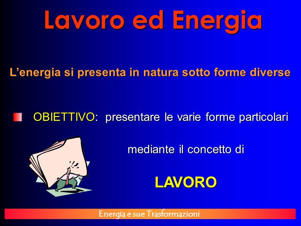 Energia e sue Trasformazioni Lavoro ed Energia Lenergia si presenta in natura sotto forme diverse OBIETTIVOpresentare le varie forme particolari OBIET
