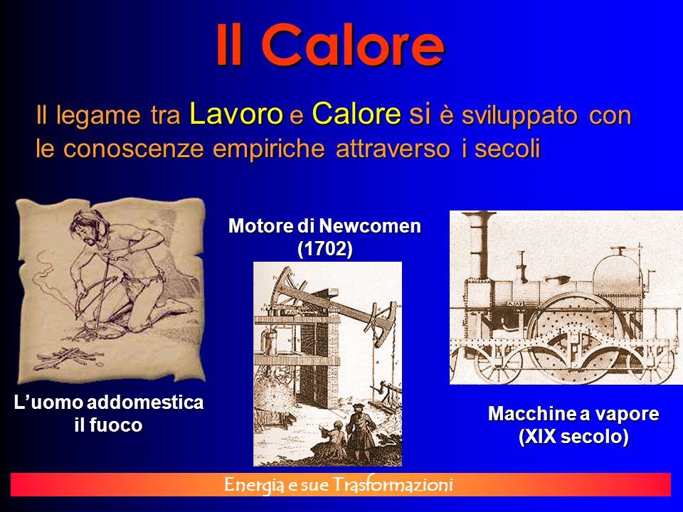 Energia e sue Trasformazioni Il Calore Il legame tra Lavoro e Calore si è sviluppato con le conoscenze empiriche attraverso i secoli Luomo addomestica