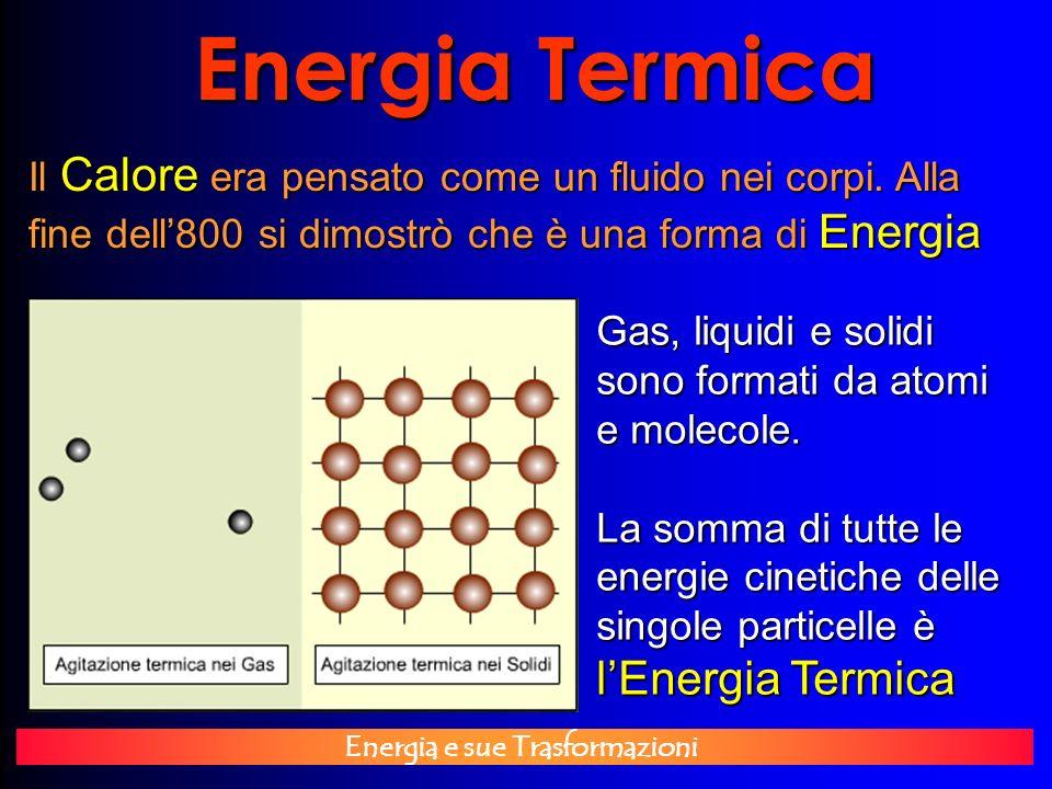 Energia e sue Trasformazioni Energia Termica Il Calore era pensato come un fluido nei corpi. Alla fine dell800 si dimostrò che è una forma di Energia