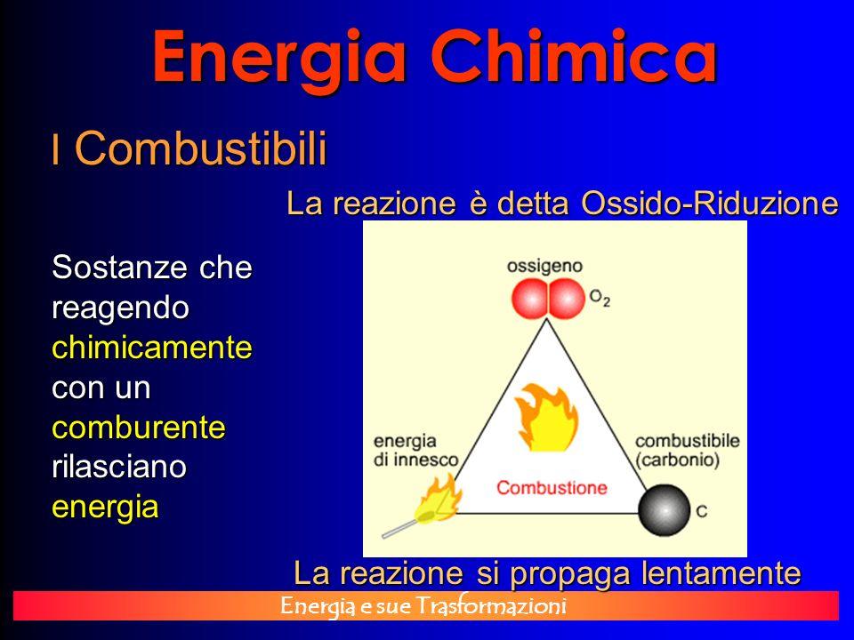 Energia e sue Trasformazioni Energia Chimica I Combustibili Sostanze che reagendo chimicamente con un comburente rilasciano energia La reazione si pro