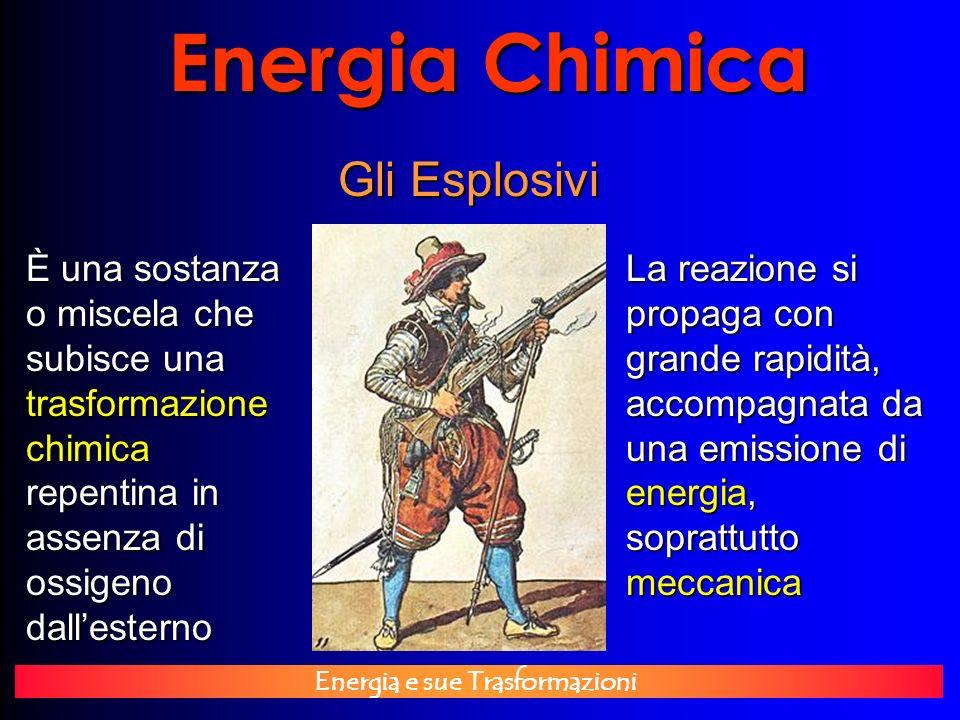 Energia e sue Trasformazioni Energia Chimica Gli Esplosivi È una sostanza o miscela che subisce una trasformazione chimica repentina in assenza di oss