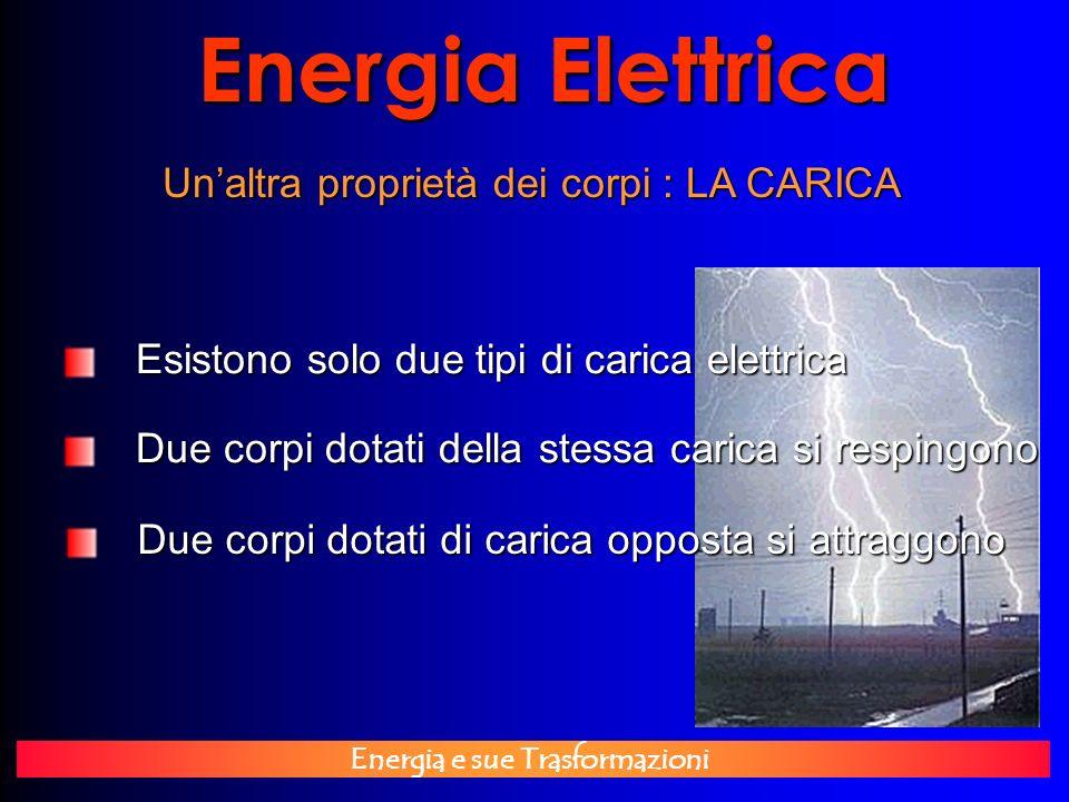 Energia e sue Trasformazioni Energia Elettrica Unaltra proprietà dei corpi : LA CARICA Esistono solo due tipi di carica elettrica Due corpi dotati del