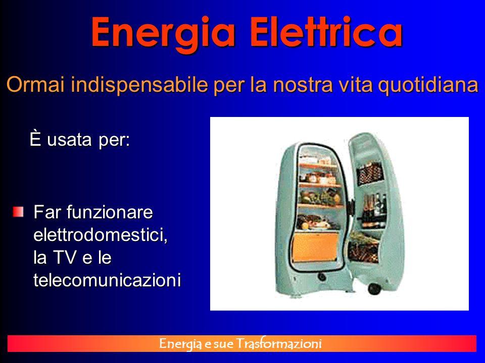 Energia e sue Trasformazioni Energia Elettrica È usata per: Ormai indispensabile per la nostra vita quotidiana Far funzionare elettrodomestici, la TV
