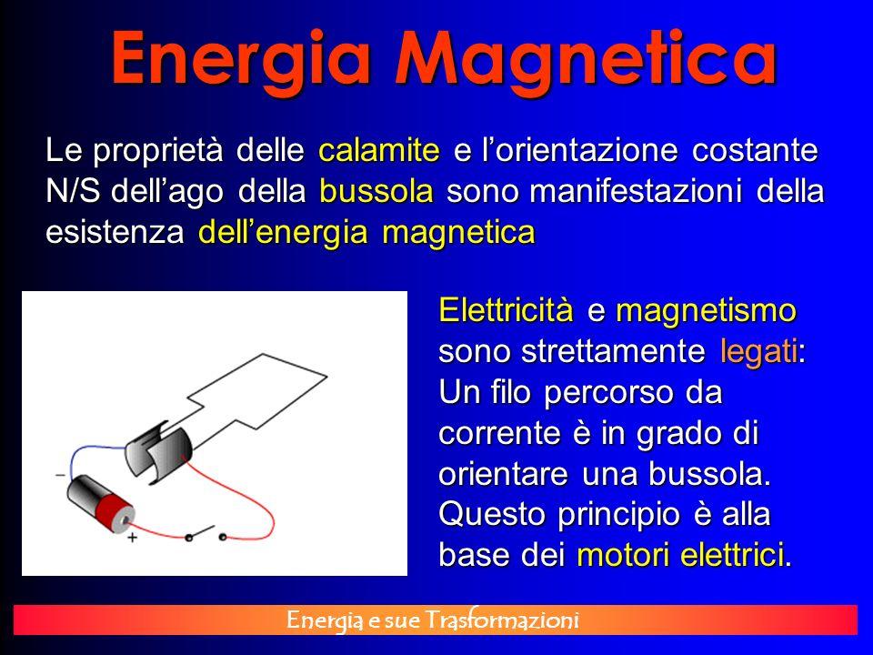 Energia e sue Trasformazioni Energia Magnetica Le proprietà delle calamite e lorientazione costante N/S dellago della bussola sono manifestazioni dell