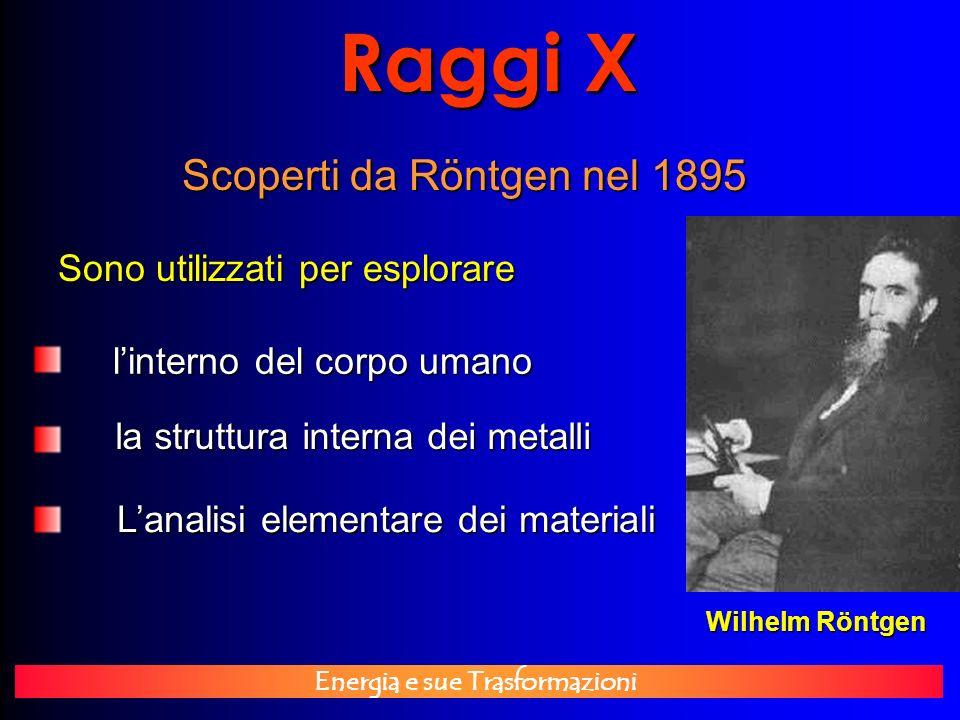 Energia e sue Trasformazioni Raggi X Scoperti da Röntgen nel 1895 Sono utilizzati per esplorare linterno del corpo umano linterno del corpo umano la s