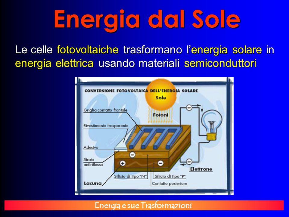 Energia e sue Trasformazioni Energia dal Sole Le celle fotovoltaiche trasformano lenergia solare in energia elettrica usando materiali semiconduttori