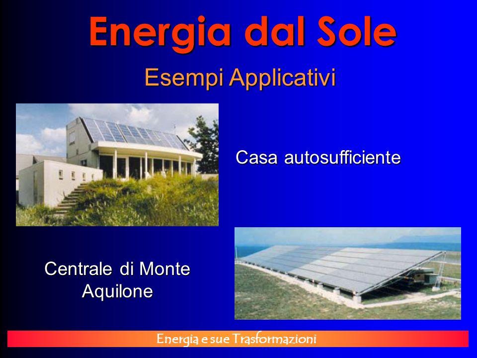 Energia e sue Trasformazioni Energia dal Sole Esempi Applicativi Casa autosufficiente Centrale di Monte Aquilone