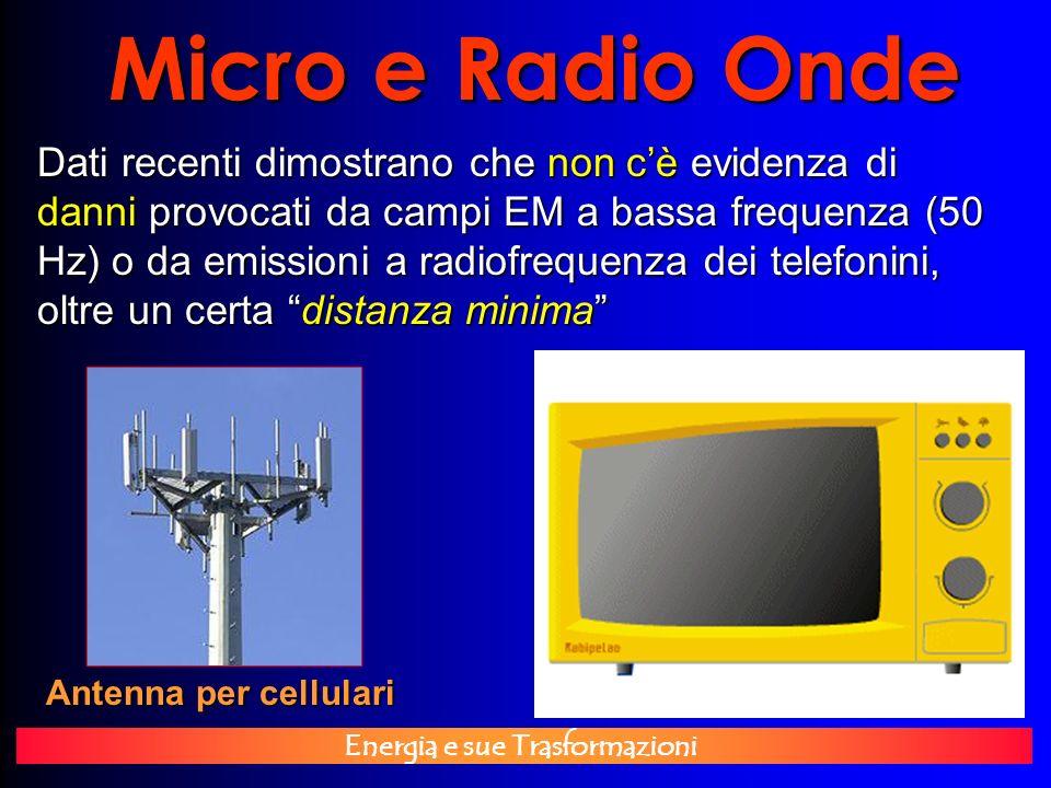 Energia e sue Trasformazioni Micro e Radio Onde Antenna per cellulari Dati recenti dimostrano che non cè evidenza di danni provocati da campi EM a bas
