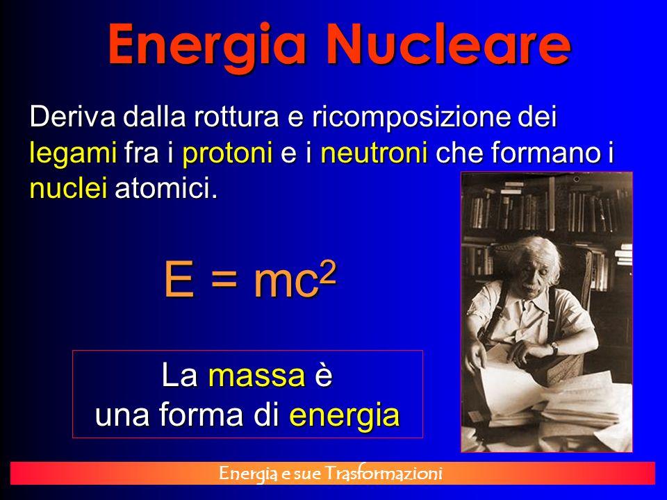 Energia e sue Trasformazioni Energia Nucleare Deriva dalla rottura e ricomposizione dei legami fra i protoni e i neutroni che formano i nuclei atomici