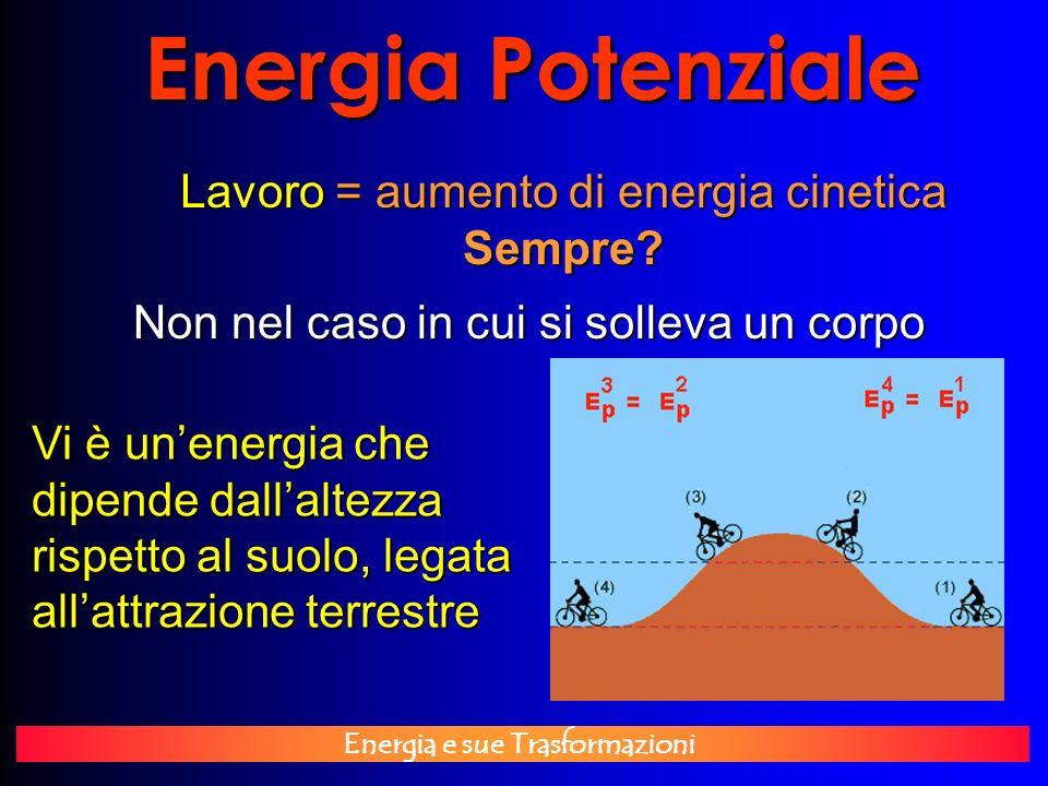 Energia e sue Trasformazioni Energia Potenziale Lavoro = aumento di energia cinetica Sempre? Non nel caso in cui si solleva un corpo Vi è unenergia ch