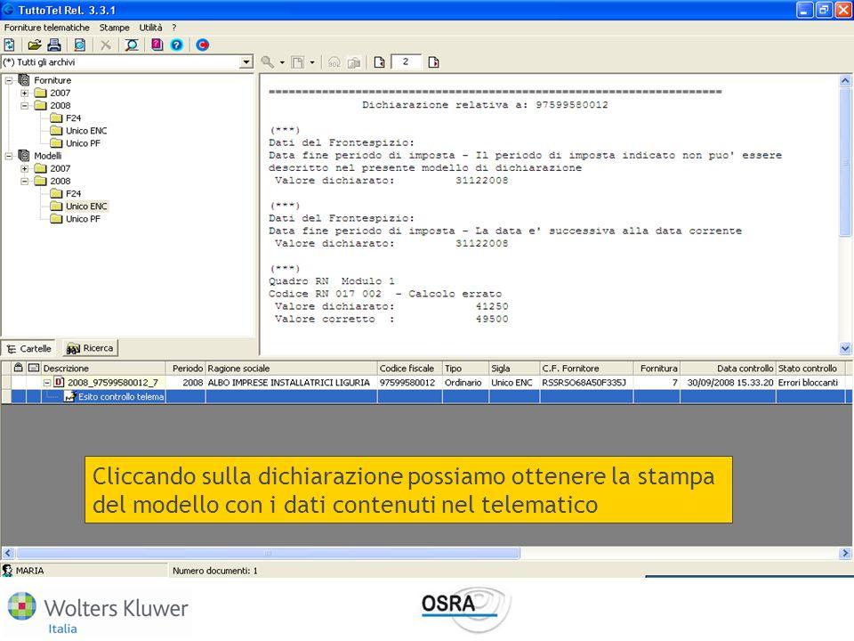 Cliccando sulla dichiarazione possiamo ottenere la stampa del modello con i dati contenuti nel telematico