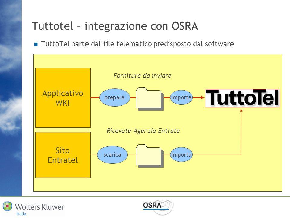 Tuttotel – integrazione con OSRA TuttoTel parte dal file telematico predisposto dal software Applicativo WKI prepara importa Sito Entratel scarica imp