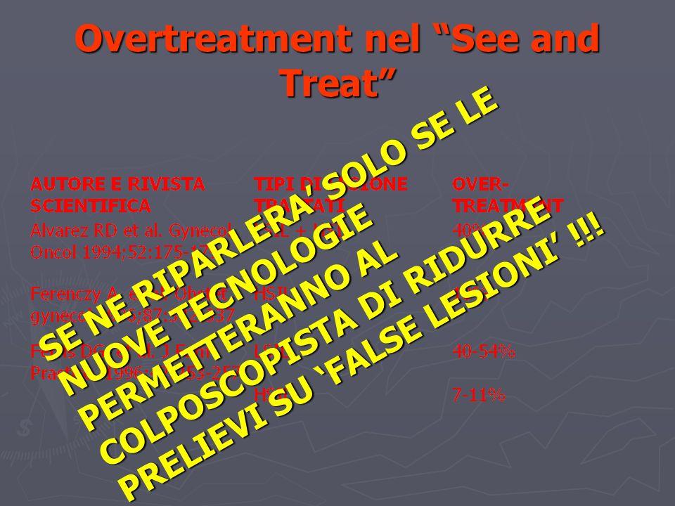 Overtreatment nel See and Treat SE NE RIPARLERA SOLO SE LE NUOVE TECNOLOGIE PERMETTERANNO AL COLPOSCOPISTA DI RIDURRE PRELIEVI SU FALSE LESIONI !!!