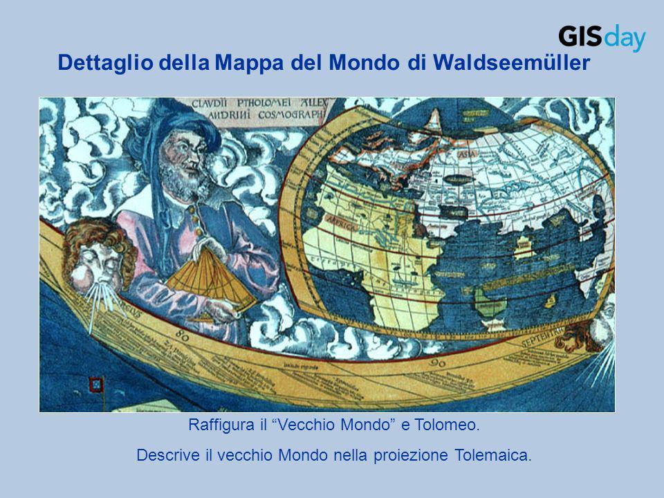 Dettaglio della Mappa del Mondo di Waldseemüller Raffigura il Vecchio Mondo e Tolomeo. Descrive il vecchio Mondo nella proiezione Tolemaica.