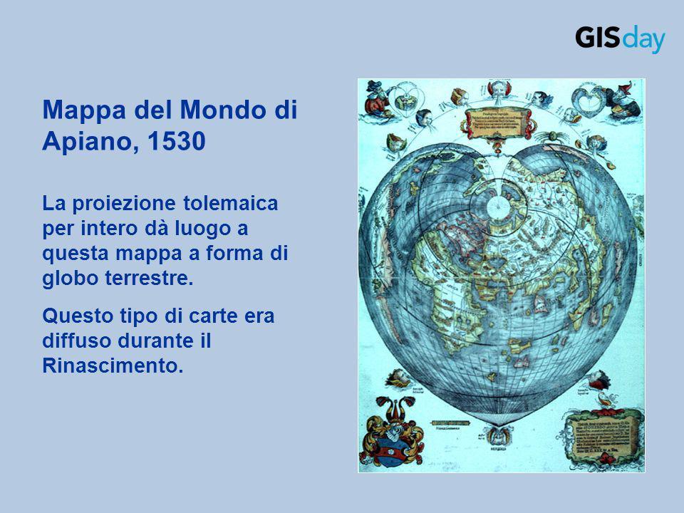 La proiezione tolemaica per intero dà luogo a questa mappa a forma di globo terrestre. Questo tipo di carte era diffuso durante il Rinascimento. Mappa