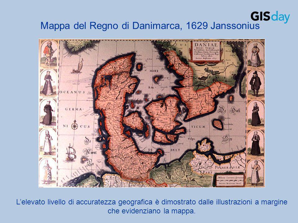 Lelevato livello di accuratezza geografica è dimostrato dalle illustrazioni a margine che evidenziano la mappa. Mappa del Regno di Danimarca, 1629 Jan