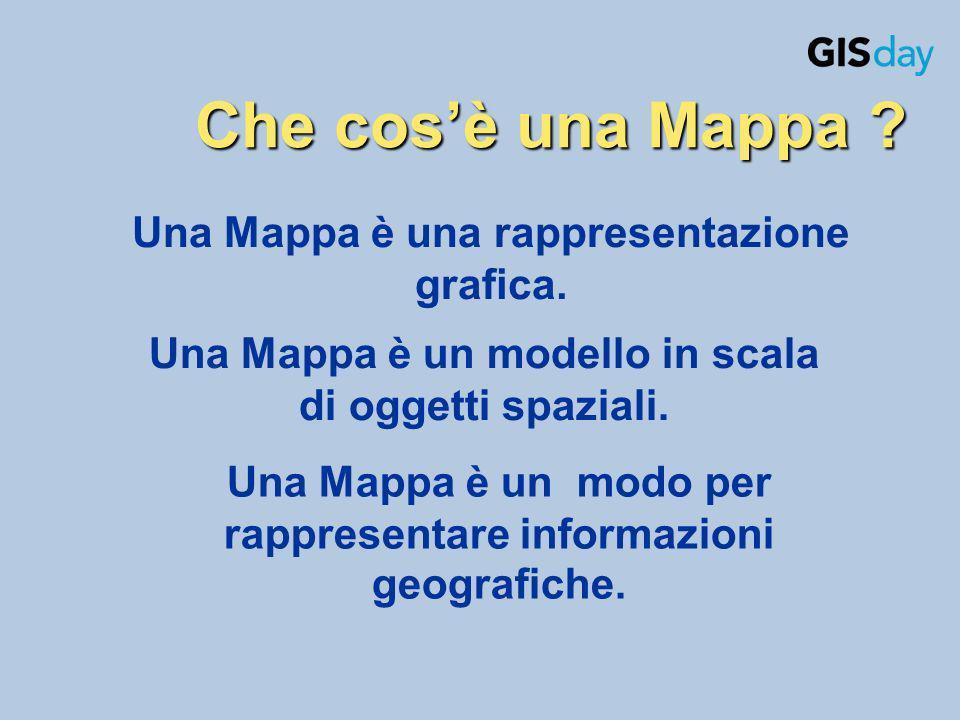 Una Mappa è una rappresentazione grafica. Che cosè una Mappa ? Una Mappa è un modello in scala di oggetti spaziali. Una Mappa è un modo per rappresent
