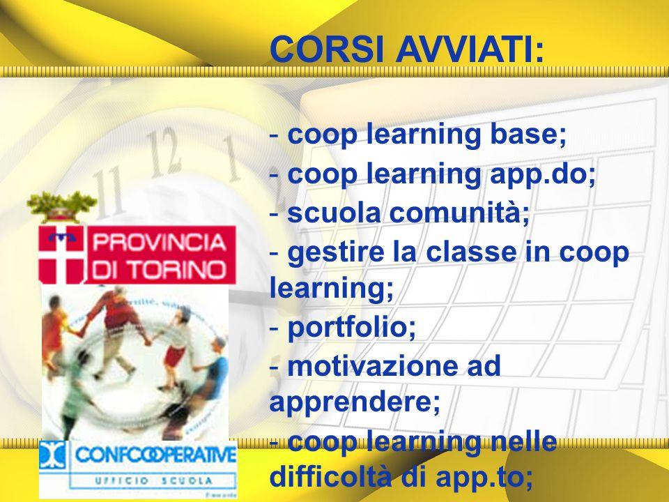 CORSI AVVIATI: - coop learning base; - coop learning app.do; - scuola comunità; - gestire la classe in coop learning; - portfolio; - motivazione ad ap