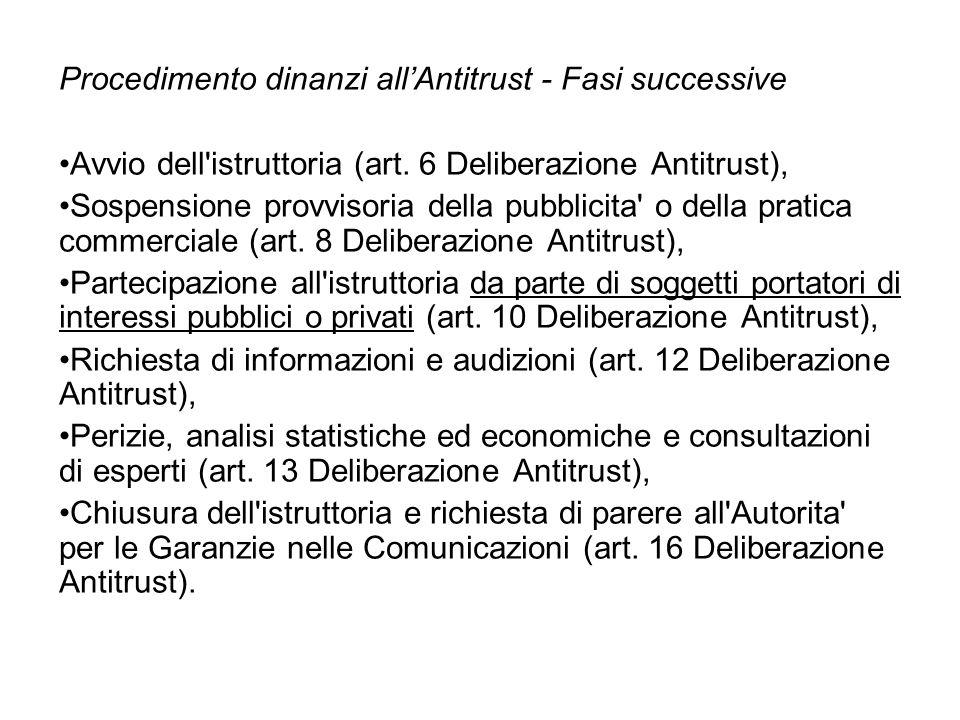 Procedimento dinanzi allAntitrust - Fasi successive Avvio dell istruttoria (art.