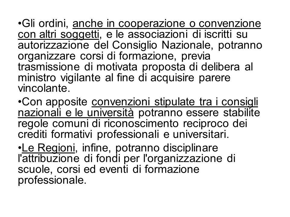 Gli ordini, anche in cooperazione o convenzione con altri soggetti, e le associazioni di iscritti su autorizzazione del Consiglio Nazionale, potranno