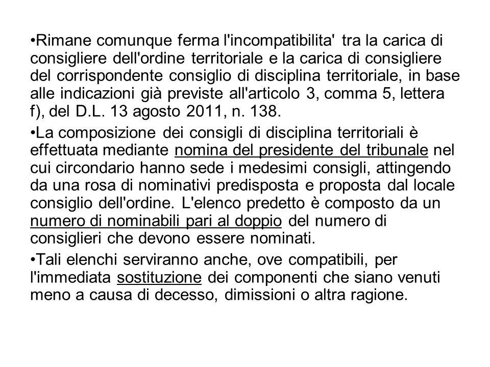 Rimane comunque ferma l incompatibilita tra la carica di consigliere dell ordine territoriale e la carica di consigliere del corrispondente consiglio di disciplina territoriale, in base alle indicazioni già previste all articolo 3, comma 5, lettera f), del D.L.