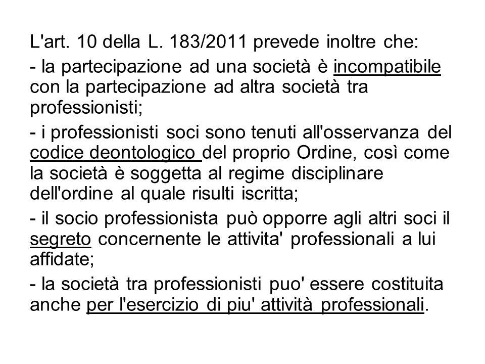 L'art. 10 della L. 183/2011 prevede inoltre che: - la partecipazione ad una società è incompatibile con la partecipazione ad altra società tra profess