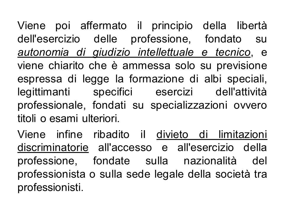 L art.3 afferma il principio della pubblicità degli albi professionali territoriali.