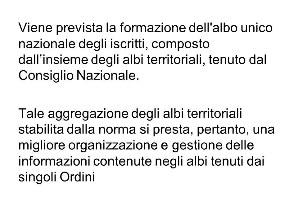 Viene prevista la formazione dell albo unico nazionale degli iscritti, composto dallinsieme degli albi territoriali, tenuto dal Consiglio Nazionale.