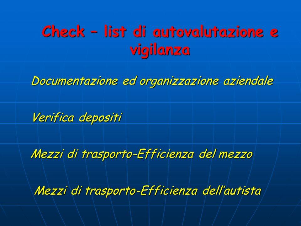 Documentazione ed organizzazione aziendale Verifica depositi Mezzi di trasporto-Efficienza del mezzo Mezzi di trasporto-Efficienza dellautista Check – list di autovalutazione e vigilanza