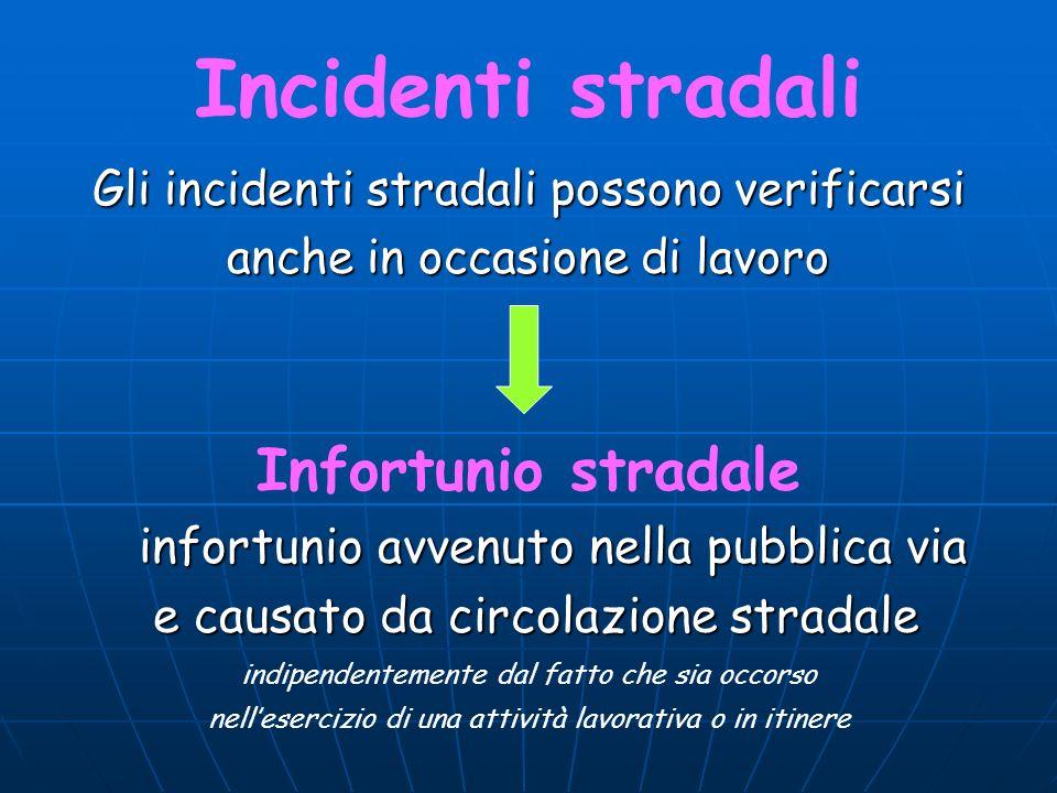 Incidenti stradali Gli incidenti stradali possono verificarsi anche in occasione di lavoro Infortunio stradale infortunio avvenuto nella pubblica via