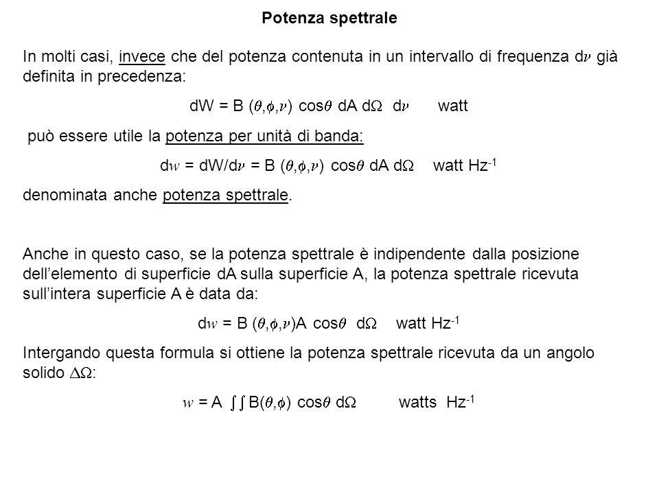 In molti casi, invece che del potenza contenuta in un intervallo di frequenza d già definita in precedenza: dW = B (,, ) cos dA d d watt può essere utile la potenza per unità di banda: dw = dW/d = B (,, ) cos dA d watt Hz -1 denominata anche potenza spettrale.