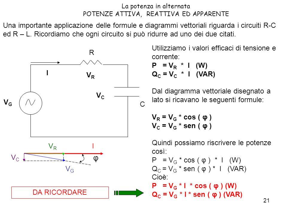 21 La potenza in alternata POTENZE ATTIVA, REATTIVA ED APPARENTE Una importante applicazione delle formule e diagrammi vettoriali riguarda i circuiti R-C ed R – L.