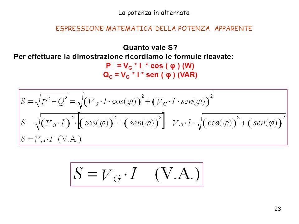 23 Quanto vale S? Per effettuare la dimostrazione ricordiamo le formule ricavate: P = V G * I * cos ( φ ) (W) Q C = V G * I * sen ( φ ) (VAR) La poten