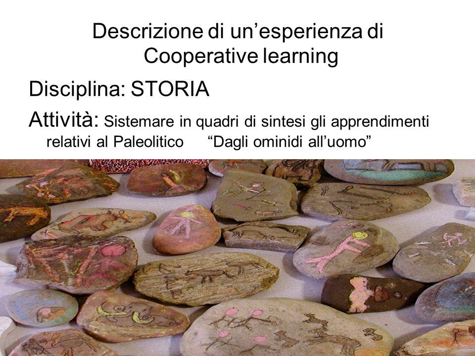 Descrizione di unesperienza di Cooperative learning Disciplina: STORIA Attività: Sistemare in quadri di sintesi gli apprendimenti relativi al Paleolitico Dagli ominidi alluomo