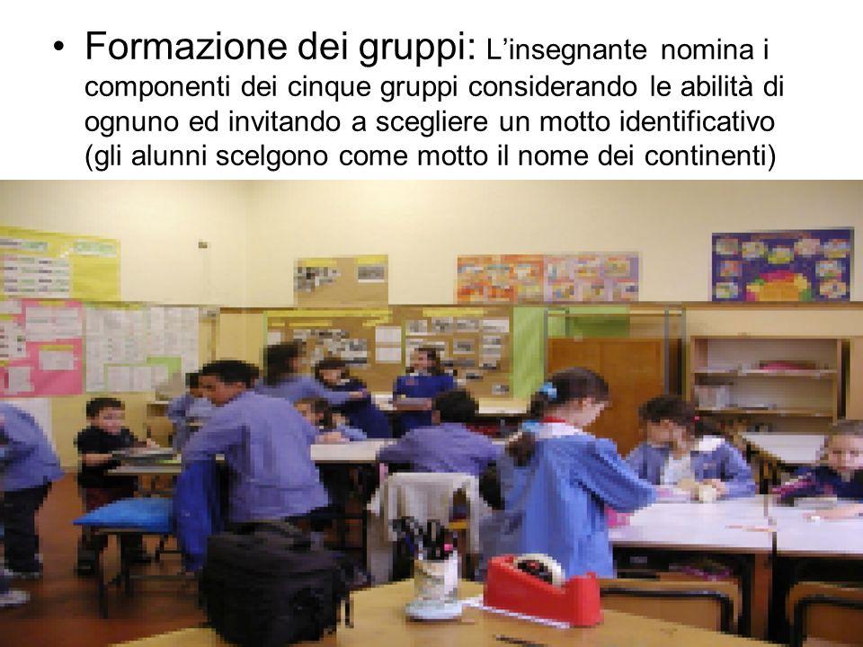 Formazione dei gruppi: Linsegnante nomina i componenti dei cinque gruppi considerando le abilità di ognuno ed invitando a scegliere un motto identific