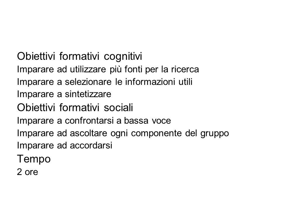 Obiettivi formativi cognitivi Imparare ad utilizzare più fonti per la ricerca Imparare a selezionare le informazioni utili Imparare a sintetizzare Obi