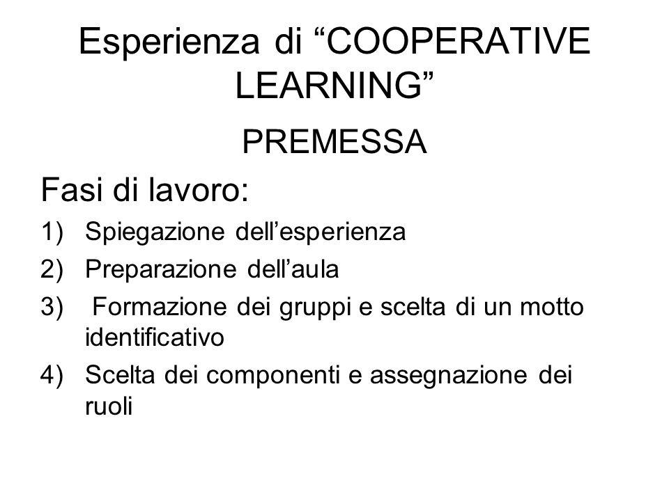 Esperienza di COOPERATIVE LEARNING PREMESSA Fasi di lavoro: 1)Spiegazione dellesperienza 2)Preparazione dellaula 3) Formazione dei gruppi e scelta di