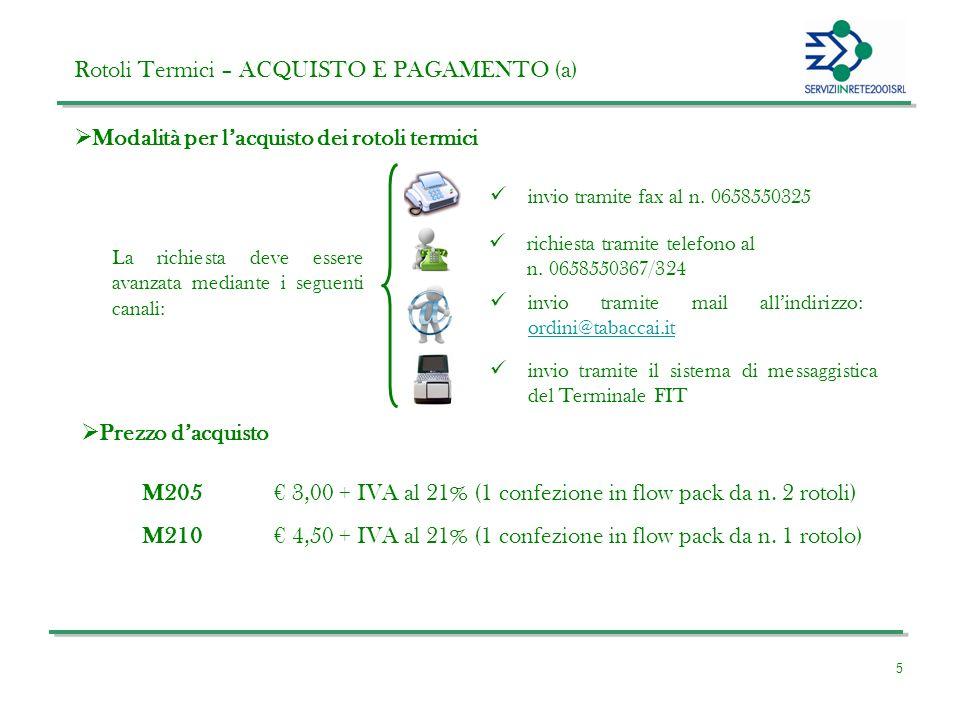 5 Rotoli Termici – ACQUISTO E PAGAMENTO (a) Modalità per lacquisto dei rotoli termici La richiesta deve essere avanzata mediante i seguenti canali: Prezzo dacquisto invio tramite fax al n.