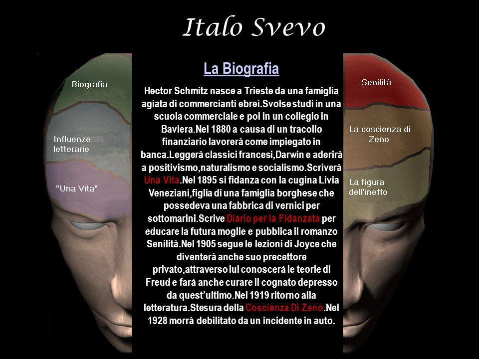 Italo Svevo La Biografia Hector Schmitz nasce a Trieste da una famiglia agiata di commercianti ebrei.Svolse studi in una scuola commerciale e poi in u