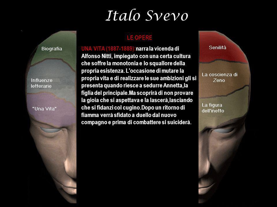Italo Svevo LE OPERE UNA VITA (1887-1889):narra la vicenda di Alfonso Nitti, impiegato con una certa cultura che soffre la monotonia e lo squallore de