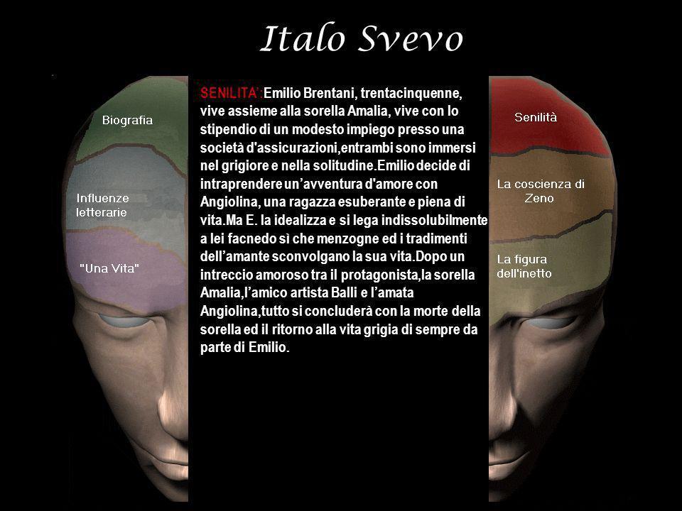 Italo Svevo SENILITA:Emilio Brentani, trentacinquenne, vive assieme alla sorella Amalia, vive con lo stipendio di un modesto impiego presso una societ