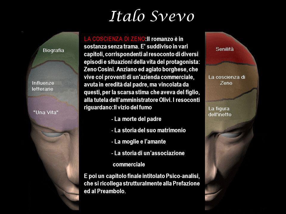 Italo Svevo LA COSCIENZA DI ZENO:Il romanzo è in sostanza senza trama. E' suddiviso in vari capitoli, corrispondenti al resoconto di diversi episodi e