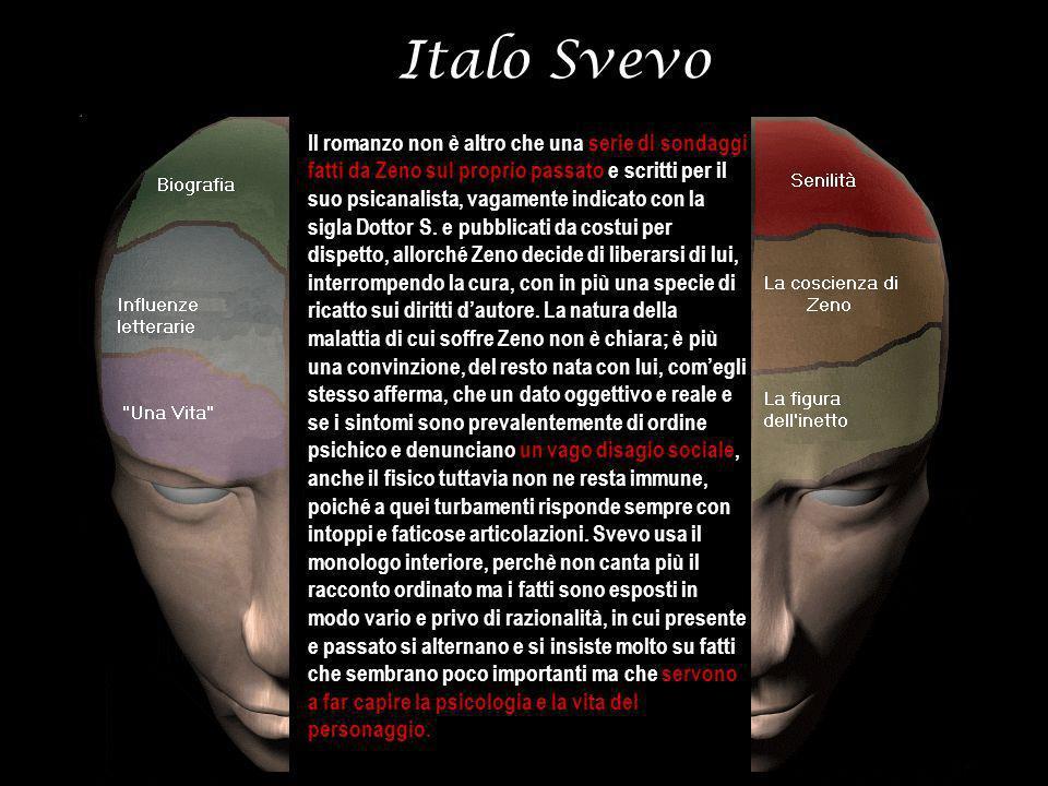 Italo Svevo Il romanzo non è altro che una serie di sondaggi fatti da Zeno sul proprio passato e scritti per il suo psicanalista, vagamente indicato c