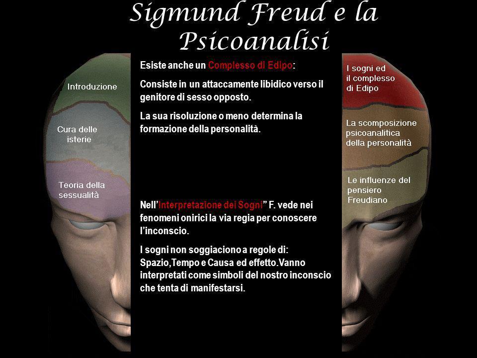 Sigmund Freud e la Psicoanalisi Esiste anche un Complesso di Edipo: Consiste in un attaccamente libidico verso il genitore di sesso opposto. La sua ri
