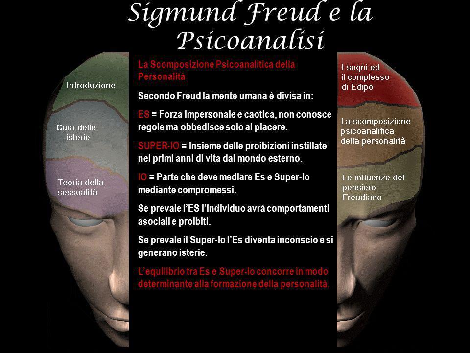 Sigmund Freud e la Psicoanalisi La Scomposizione Psicoanalitica della Personalità Secondo Freud la mente umana è divisa in: ES = Forza impersonale e c