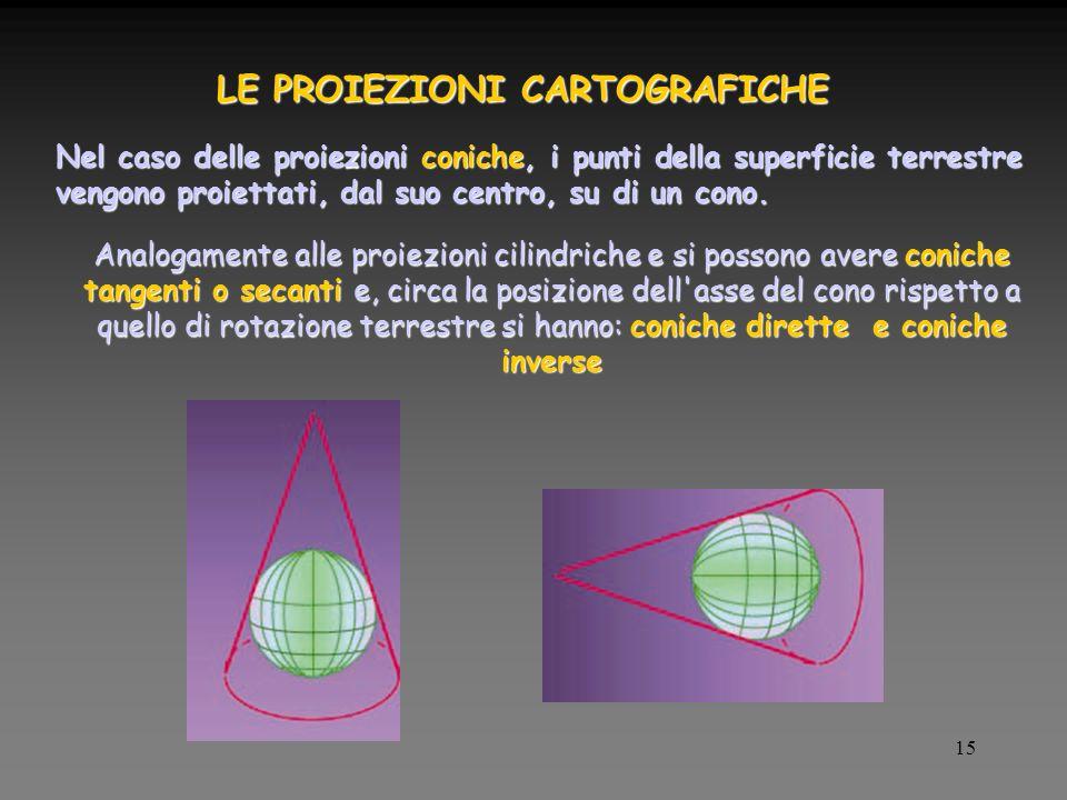 15 LE PROIEZIONI CARTOGRAFICHE Nel caso delle proiezioni coniche, i punti della superficie terrestre vengono proiettati, dal suo centro, su di un cono.