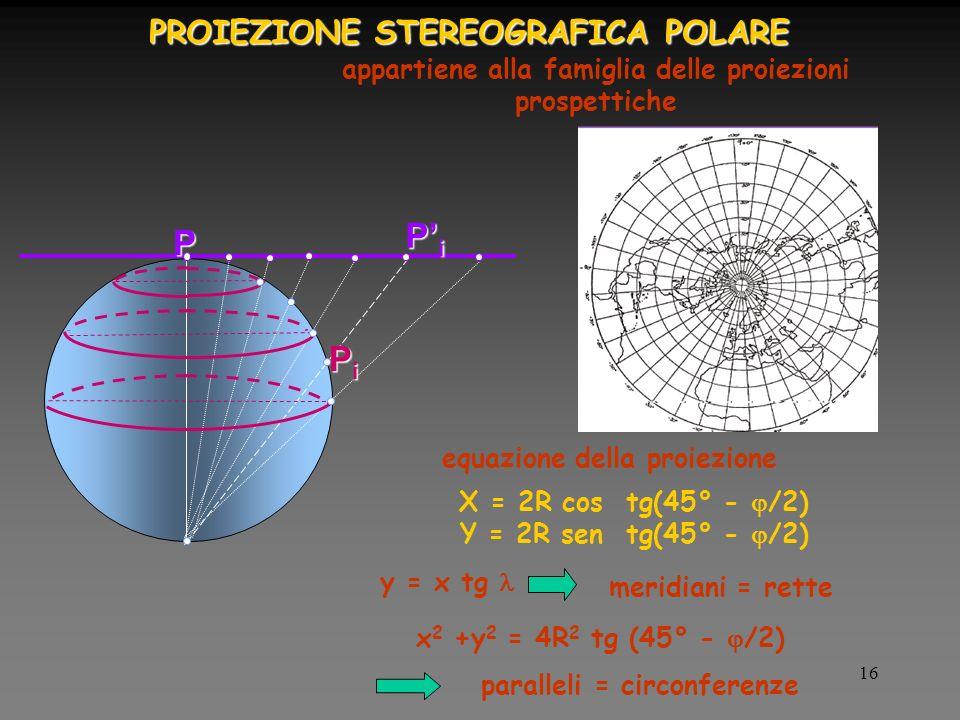 16 PROIEZIONE STEREOGRAFICA POLARE appartiene alla famiglia delle proiezioni prospettiche X = 2R cos tg(45° - /2) Y = 2R sen tg(45° - /2) y = x tg x 2 +y 2 = 4R 2 tg (45° - /2) equazione della proiezione meridiani = rette paralleli = circonferenze P PiPiPiPi PiPiPiPi