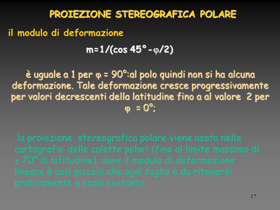 17 m=1/(cos 45°- /2) il modulo di deformazione è uguale a 1 per = 90°:al polo quindi non si ha alcuna deformazione.